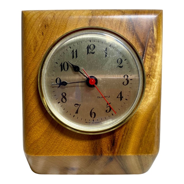 1960s Myrtlewood Battery Operated French Quartz Clock For Sale