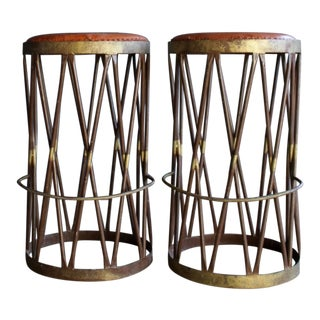 Hand Welded Iron & Leather Stools, a Pair For Sale