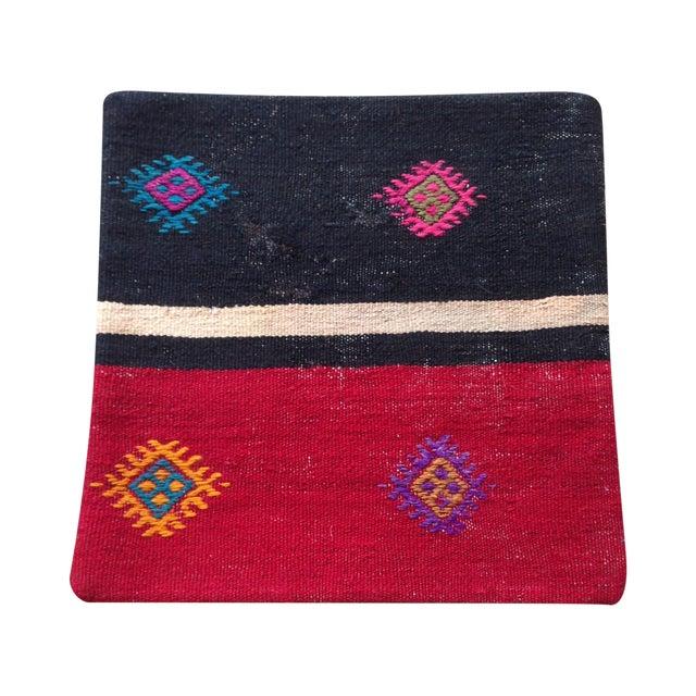 Vintage Black & Pink Kilim Pillow Cover - Image 1 of 5