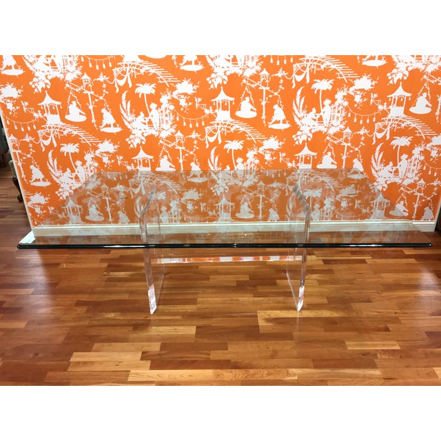 1980s 1980s Minimalist Glass & Lucite Acrylic Dining Table Contemporary Modern For Sale - Image 5 of 9