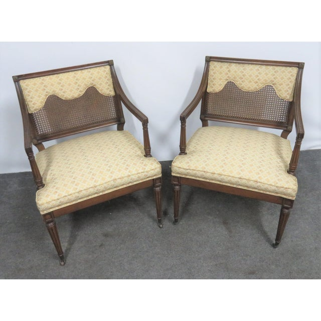 Louis XVI Style Caned Back Upholstered Armchairs - a Pair For Sale - Image 4 of 7