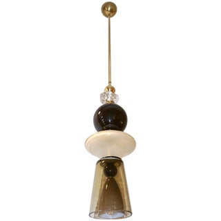 Contemporary Crystal Black and White Smoked Murano Glass Pendant Light For Sale
