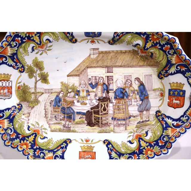 Folk Art Large 19th Century French Hand-Painted Oval Faience Wall Platter From Brittany For Sale - Image 3 of 12