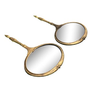 Large Hand Mirror Shaped Wall Mirrors - a Pair For Sale