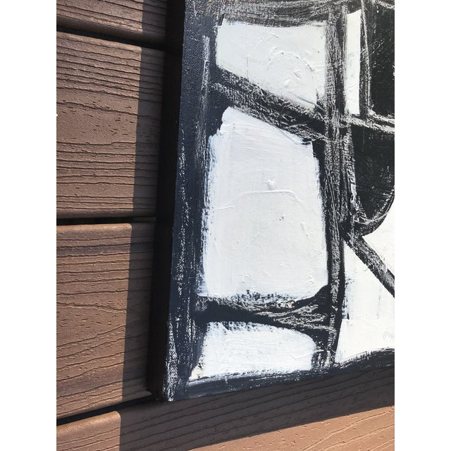 """Sarah Trundle Sarah Trundle, Contemporary Abstract Black and White Painting, """"Much Ado"""" For Sale - Image 4 of 8"""