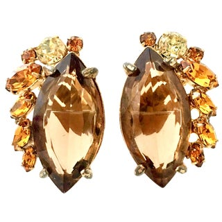 1960's Vintage Alice Caviness Gold & Swarovski Crystal Earrings For Sale