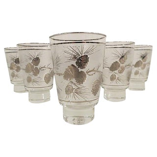 Mid-Century Sterling Silver Overlay Frosted Pinecone Glasses - Set of 6 For Sale