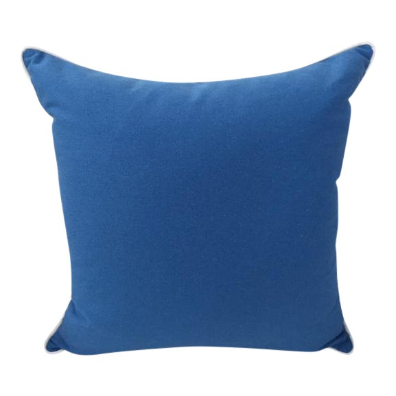 """Paradise Collection Blue Pillow Cover . With Zipper . White Contrast Welt . 22"""" X 22"""" - Image 1 of 8"""