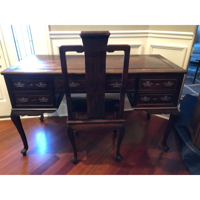 1980's Chinese Rosewood Desk & Chair - 2 Pieces For Sale In Chicago - Image 6 of 10