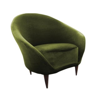 1950s Mid-Century Modern Ico Parisi Green Velour Club Chair For Sale