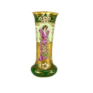 Art Nouveau Dresden Hand Painted Porcelain Vase by Richard Klemm, 1920