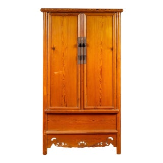 Chinese Ming Style Elm Wardrobe with Two Doors, Hidden Drawers and Carved Skirt For Sale