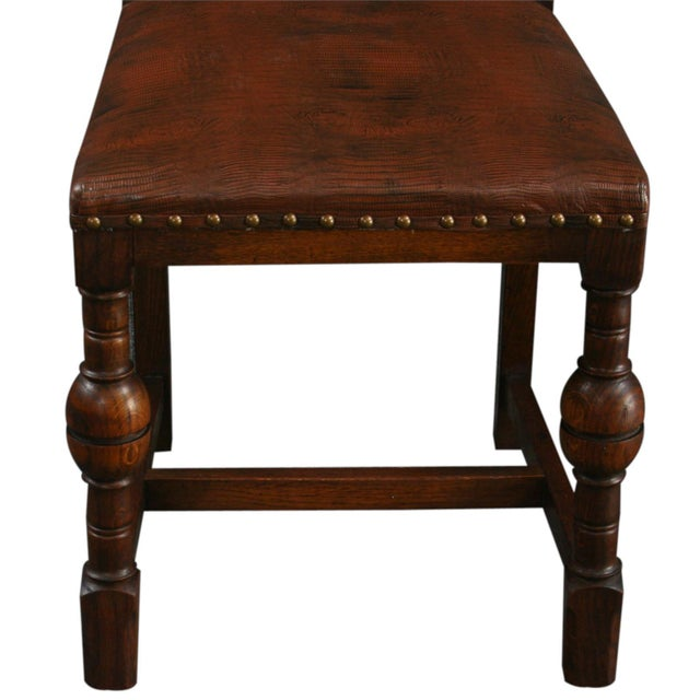 Vintage 1930 French Leather & Oak Dining Chair - Image 6 of 10