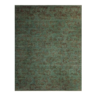 "Over Dyed Color Reform Carita Green Wool Rug - 9'3"" x 11'10"""