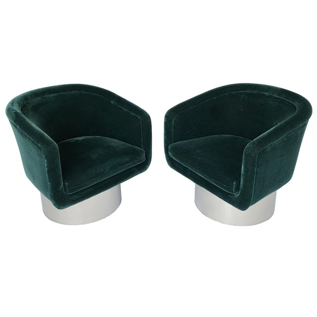 Pair of Leon Rosen Pedestal Swivel Lounge Chairs for Pace Collection For Sale - Image 12 of 12