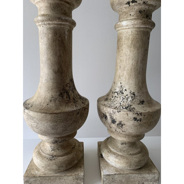 """1970s Plaster """"Stone"""" Baluster Lamps - a Pair For Sale - Image 4 of 12"""