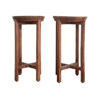 Vintage Rustic Wood Round Tray Tables or Plant Stands - a Pair For Sale