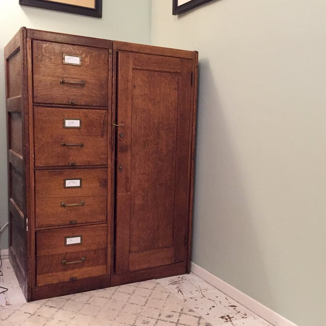 Antique Wooden Filing Cabinet With Attached Storage - Image 2 of 11