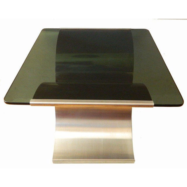 François Monnet 1970s Mid-Century Modern Francois Monnet Green Glass Side Table For Sale - Image 4 of 7