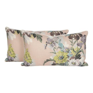Blush Linen Chinoiserie Bird Lumbar Pillows, a Pair For Sale