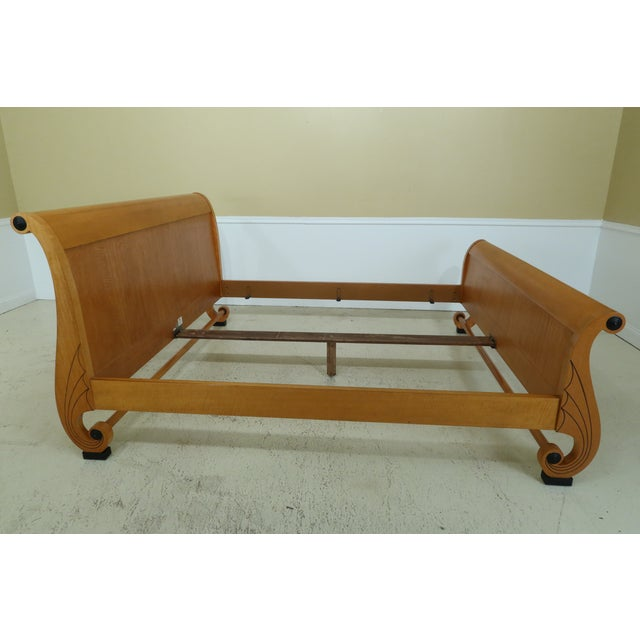 Neoclassical 1990s Baker King Size Satinwood Neoclassical Sleigh Bed For Sale - Image 3 of 11