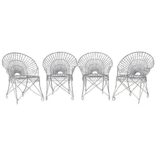 Set of Four French Iron and Wire Garden Chairs For Sale - Image 13 of 13