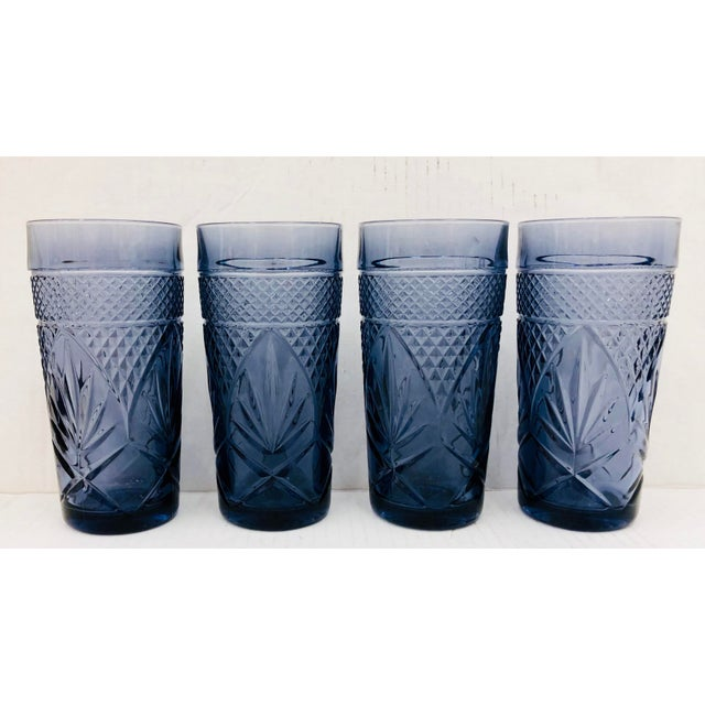 Stunning Set Vintage Cut Glass High Ball Cocktail Tumblers. Beautiful Lavender Purple Color with detail through out. The...