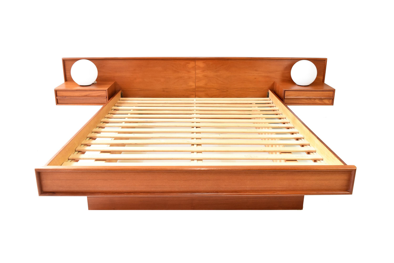 1970s Vintage Danish Modern Floating Nightstand Teak Queen Platform Bed Chairish