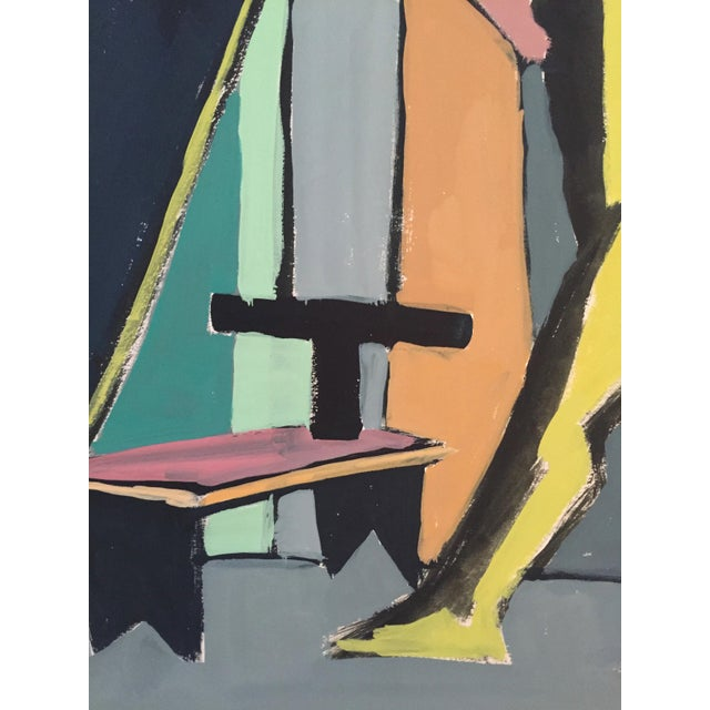 """From the estate of Jerry Opper & Ruth Friedman Opper Stick c. 1940-1950's Gouache on Paper 15"""" x 18"""", Unframed Very Good..."""