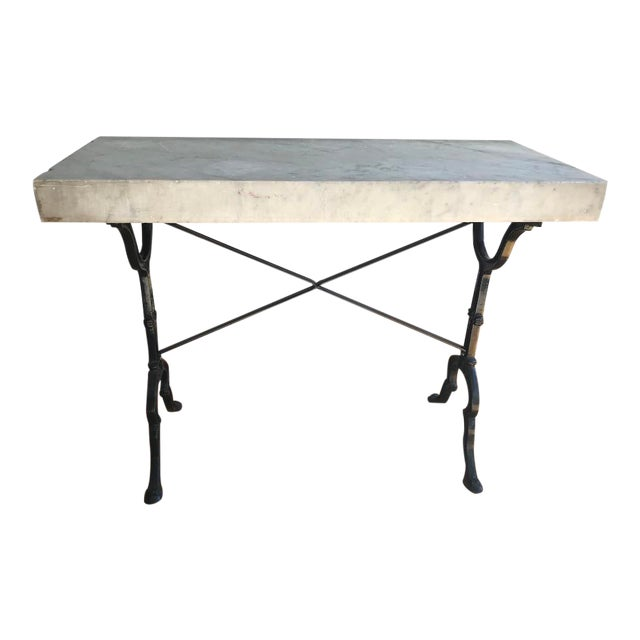 20th Century French Marble & Iron Bistro Table For Sale