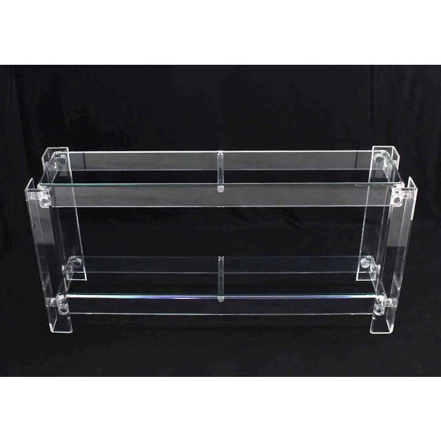 Three-Tier Long Lucite Console Table For Sale In New York - Image 6 of 10