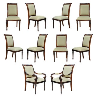 Carved Empire Upholstered Chairs- Set of 10 For Sale