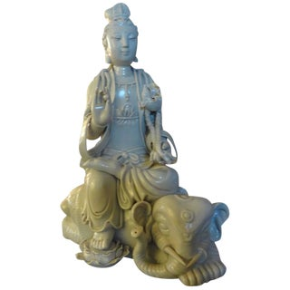 Chinese Blanc De Chine Guanyin Seated on an Elephant Sculpture