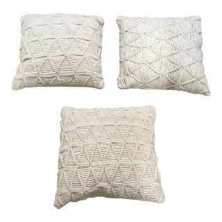Pillows - Wool Macrame Pillows - Set of 3 For Sale