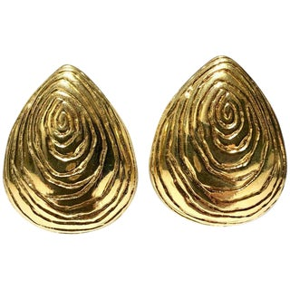 80's Gold Plate Organic Form Fuax Bois Earrings By, Givenchy For Sale