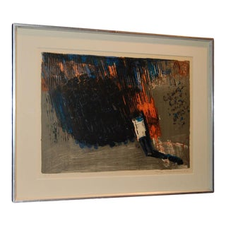 Vintage Swedish Abstract Lithograph by Leif Knudsen c. 1962 For Sale
