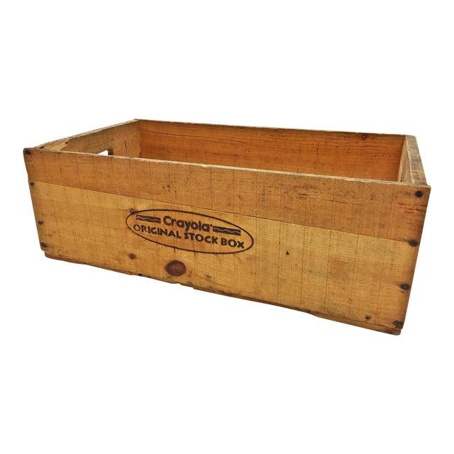 vintage industrial crayola crayon advertising wood shipping crate