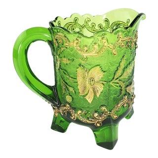 1898 Bohemian Floradora Green Gold Glass Creamer For Sale