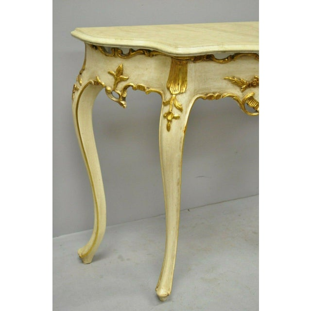 20th Century French Louis XV Rococo Cream & Gold Gilt Console Table For Sale - Image 4 of 11