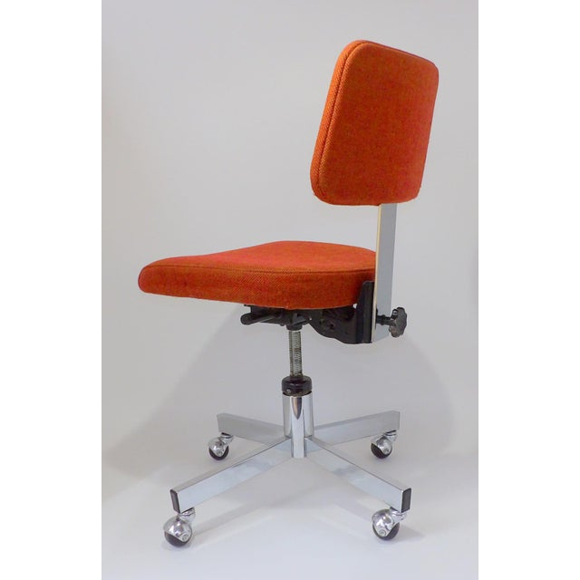 1960s Mid Century Modern Interroyal Orange Wool Office Chair For Sale - Image 5 of 13