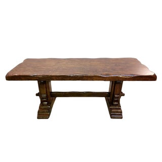Rare Massive Very Heavy Solid Antique Early 1900s French Monastery Trestle Oak Dining Table For Sale
