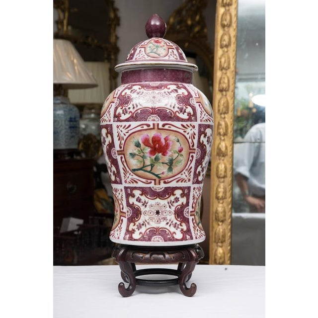 Purple Chinese Lidded Vase with European Inspiration - Image 5 of 7