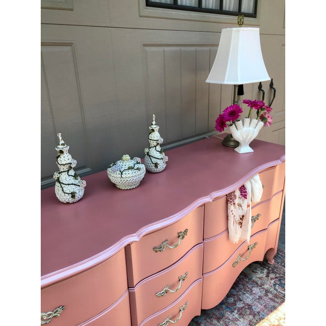 Mid 20th Century Vintage Drexel French Provincia Pink Triple Dresser For Sale - Image 5 of 13
