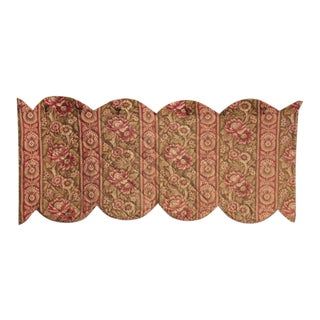 1860 Khaki Pink Red Quilted Valance Textile For Sale