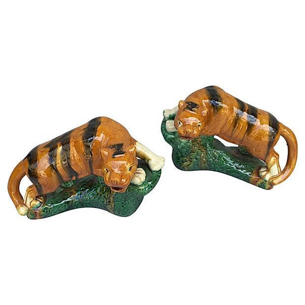 Asian Glazed Terracotta Tigers - A Pair For Sale - Image 3 of 7