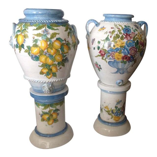 """Pair"" of Massive Glazed Terra Cotta Urns on Pedestals For Sale"
