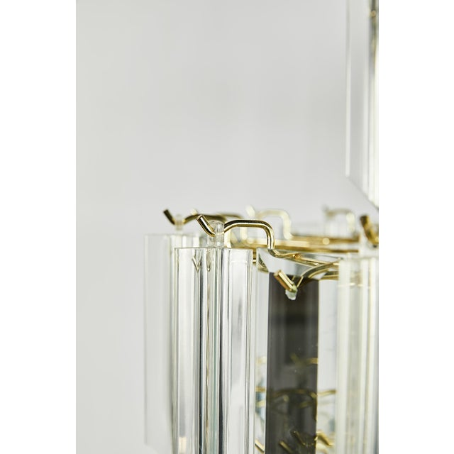Transparent Vintage Italian Waterfall Chandelier With Lucite and Mirrored Prisms For Sale - Image 8 of 13