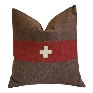 """Swiss Appliqué Cross Wool & Linen Feather/Down Pillow 22"""" Square For Sale"""