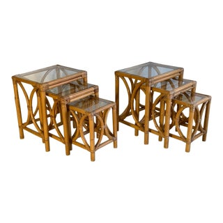 Mid Century Rattan Nesting Tables For Sale