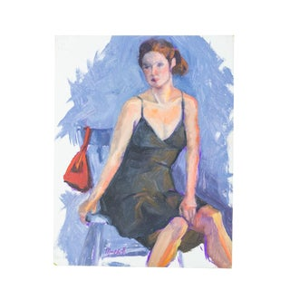 Female Figure Painting | Vintage Art in Lilac Lavender For Sale